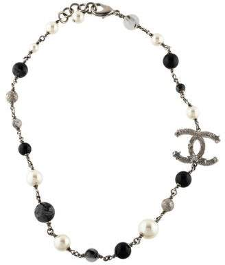 Chanel Faux Pearl, Rutilated Quartz & Resin Bead CC Necklace