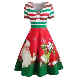 7f994598d44e ASTV Women Dress Womens Fashion Christmas Santa Claus Stripe Print V-Neck Vintage  Swing Dress