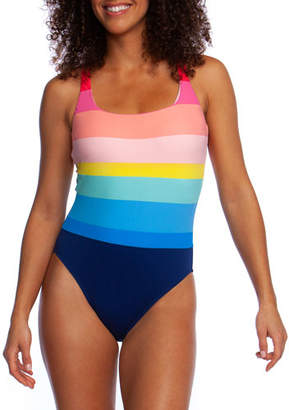 La Blanca Stripe-Tastic Strappy One-Piece Swimsuit