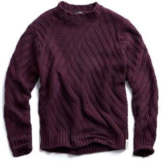 Todd Snyder Hand Knit Cable Crewneck Sweater in Maroon