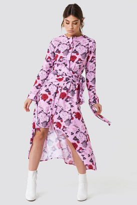 Na Kd Trend Tie Detail Asymmetric Dress Flower Pink Pattern