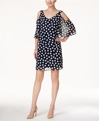 Connected Polka-Dot Cold-Shoulder Shift Dress $79 thestylecure.com