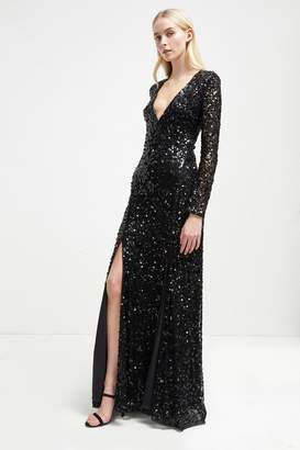 Helena French Connenction Sparkle V Neck Maxi Dress