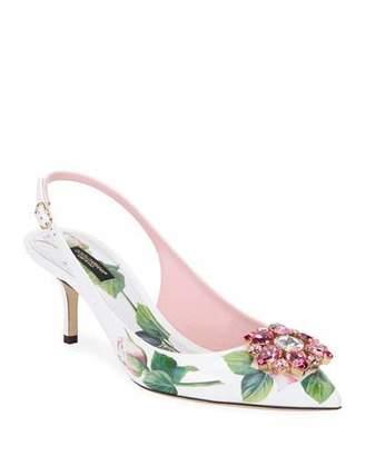 Dolce & Gabbana Jeweled Floral-Print Slingback Pumps