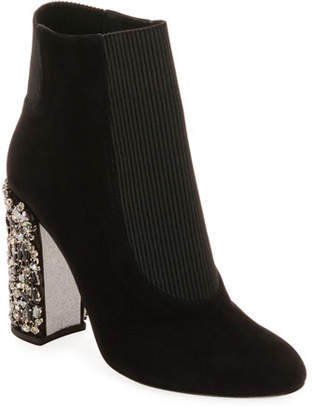 Rene Caovilla Suede Booties with Crystal Block Heel