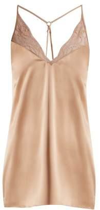 Fleur of England Caramel lace-trimmed silk-blend satin slip dress
