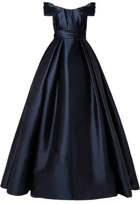 Reem Acra - Draped Off-the-shoulder Satin Gown - Navy