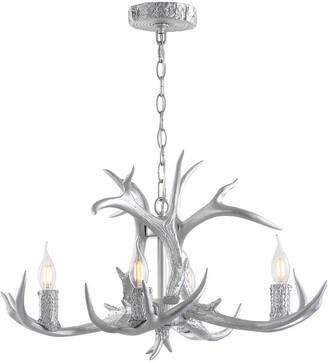 Jonathan Y Designs Eldora 26In Adjustable Resin Antler 4-Light Led Chandelier