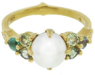 Cathy Waterman Akoya Pearl, Emerald And Tourmaline Constellation Ring