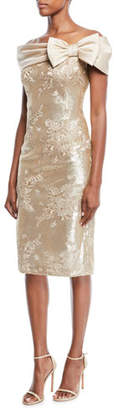 Rickie Freeman For Teri Jon Portrait-Neck w/ Bow Sequin Lace Sheath Cocktail Dress