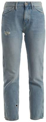 M.i.h Jeans - Cult Distressed Mid Rise Straight Leg Jeans - Womens - Light Blue