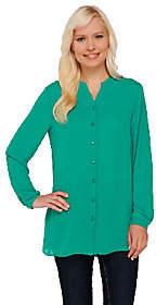 Susan Graver Georgette Long Sleeve Y-neckButton FrtShirt