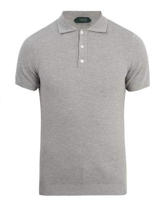 Zanone Short Sleeved Cotton Pique Polo Shirt - Mens - Grey