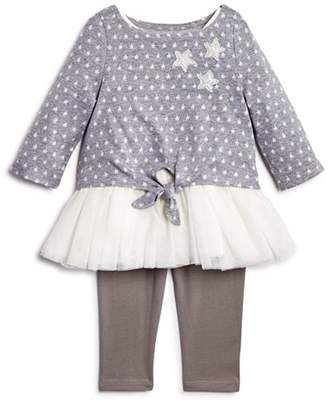 Pippa & Julie Girls' Star-Print Tie-Front Sweater, Tutu Tank Dress & Leggings Set - Baby