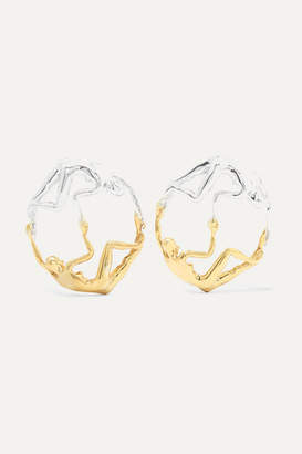 Paola Vilas - Dança Silver And Gold-plated Earrings