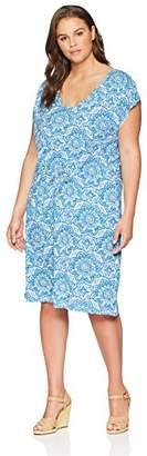 Caribbean Joe Women's Plus Size Dolman Sleeve Tie Waist Dress
