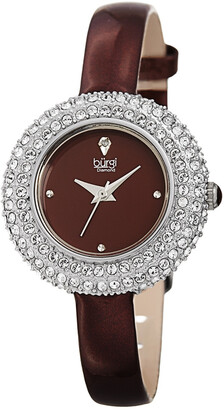 Burgi Women's Swaroski Encrusted & Diamond Marker Watch