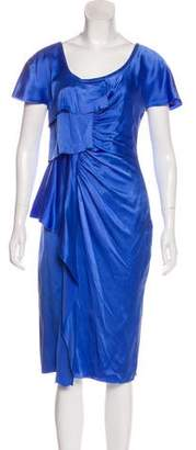 Versace Silk Ruffle-Accented Dress