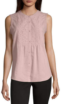 Liz Claiborne Crochet Button Front Top - Tall