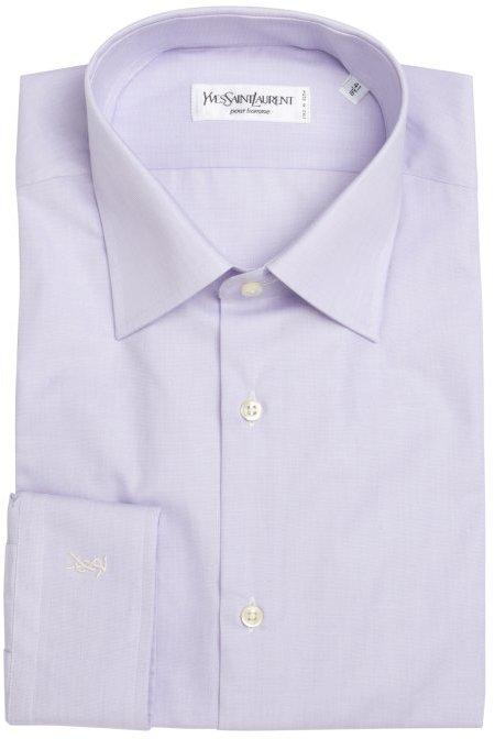 Yves Saint Laurent lavender cotton striped button front shirt