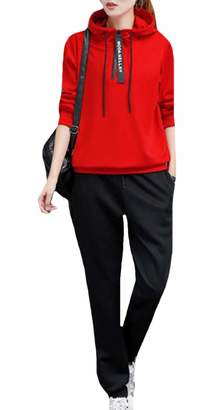 Winme Women's Relaxed-Fit Tracksuit Top Sport Baggy Pants Outfit XL