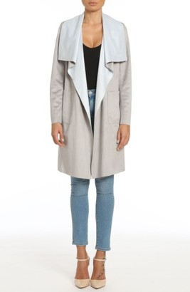 Women's Badgley Mischka Colorblock Faux Suede Draped Coat $178 thestylecure.com