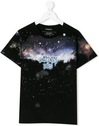 Balmain Kids TEEN space print T-shirt