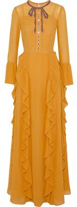 Mikael Aghal Embellished Ruffled Crepe De Chine Gown