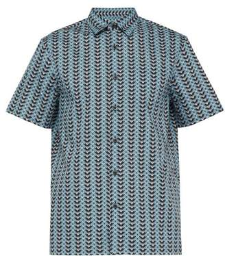 Chevron Print Short Sleeved Cotton Shirt - Mens - Blue Multi