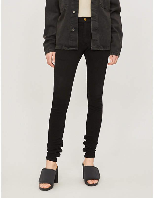 Zipped-cuff skinny mid-rise jeans
