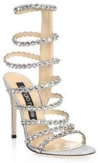 Sergio Rossi Crystal-Embellished Gladiator Sandals