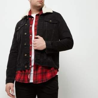 River Island Big and Tall black fleece collar denim jacket