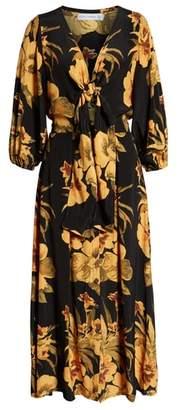 Faithfull The Brand Oliviera Floral Print Cutout Midi Dress