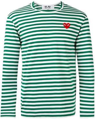 Comme des Garcons striped heart embellished top