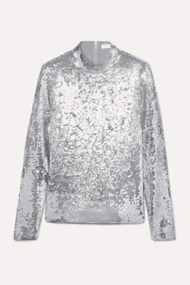 Veronica Beard Lucina Sequined Stretch-tulle Top - Silver