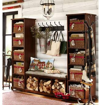 Pottery Barn Samantha 3-Piece Bench & Bookcase Entryway Set, Mahogany Stain