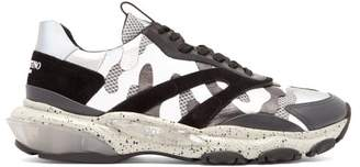 Valentino Bounce Raised Sole Low Top Leather Trainers - Mens - Grey Multi