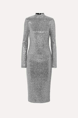 Rebecca Vallance Andree Sequined Lurex Midi Dress - Silver