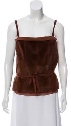 Prada Sleeveless Fur Top w/ Tags Brown Sleeveless Fur Top w/ Tags