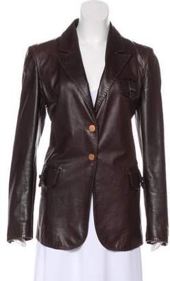 Fendi Leather Button-Up Blazer