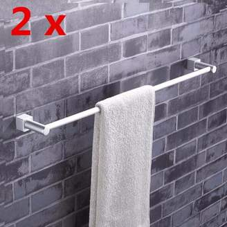 Generic 22inch Aluminum Bathroom Double Towel Rail Rack Holder 2 Bar Hanger Wall Mount Shelf