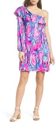 Lilly Pulitzer R) Amante One-Shoulder Silk Dress