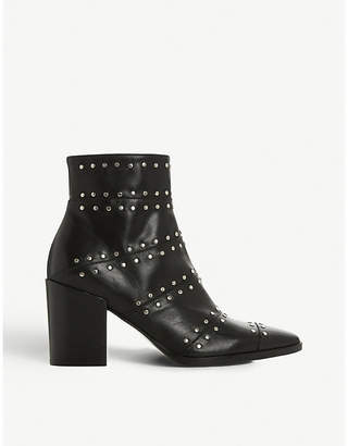 Dune Black Parlour studded leather ankle boots
