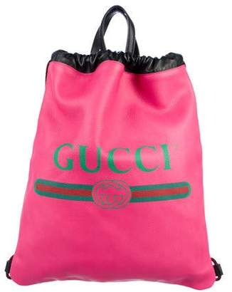Gucci 2018 Leather Drawstring Backpack