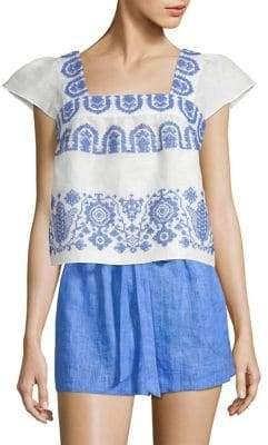Milly Linen Flutter Sleeve Dress