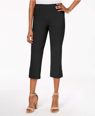 JM Collection Pull-On Lattice-Inset Capri Pants