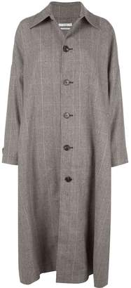 Co checked wool blend coat