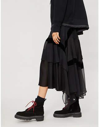 Sacai Asymmetric chiffon skirt