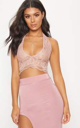PrettyLittleThing Dusty Pink Lace Halterneck Crop Top