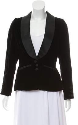 Oscar de la Renta Silk-Trimmed Velvet Blazer